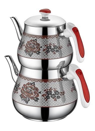 Kristal Orta Desenli Çaydanlık Kırmızı-Özkent